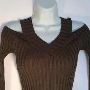 Sweaters - Fitted Olive Cold Shoulder Sweater